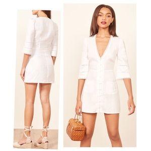 •Reformation 'Eloise' white mini linen dress•
